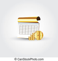 Money,time and notebook - This image is a vector...