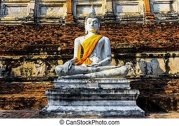 mongkol, 寺院, 仏, 像, タイ, ayutthaya