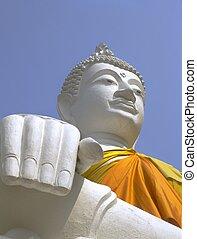 mongkol, chai, boeddha, yai, witte , wat, ayutthaya
