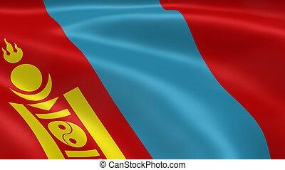 mongol, bandeira, vento