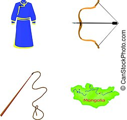 .mongol dressing gown, battle bow, theria on the map, Urga, Khlyst. Mongolia set collection icons in cartoon style vector symbol stock illustration web.