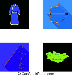 .mongol dressing gown, battle bow, theria on the map, Urga, Khlyst. Mongolia set collection icons in flat style vector symbol stock illustration web.