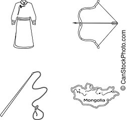 .mongol dressing gown, battle bow, theria on the map, Urga, Khlyst. Mongolia set collection icons in outline style vector symbol stock illustration web.