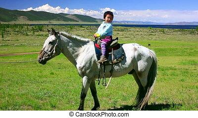 mongol, girl, jeune, paysage, cheval