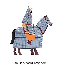 Mongol Nomad Warrior Riding Horse, Central Asian Character in Full Armour with Sword Vector Illustration