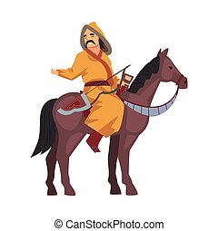 Mongol Nomad Warrior Riding Horse, Central Asian Character in Traditional Clothing Vector Illustration