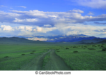 Mongol road to mountain