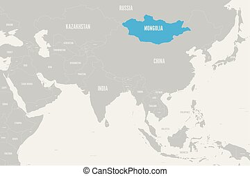 Mongolia blue marked in political map of Southern Asia. Vector illustration