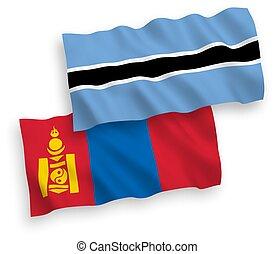 mongolia, botsuana, fondo blanco, banderas