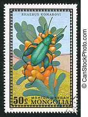 insect - MONGOLIA - CIRCA 1972: stamp printed by Mongolia, ...