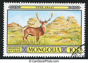 Zuun Araat Wildlife Preserve - MONGOLIA - CIRCA 1974: stamp ...