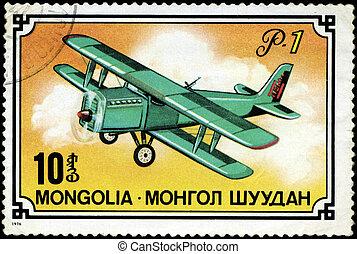 MONGOLIA- CIRCA 1976: A stamp printed in Mongolia shows airplane R-1, series, circa 1976