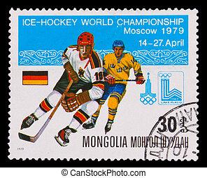 MONGOLIA - CIRCA 1979: A post stamp printed MONGOLIA, hockey IIHF World Championship, 1980 Team Germany and Sweden, circa 1979