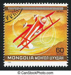 aeroplane - MONGOLIA - CIRCA 1980: stamp printed by...