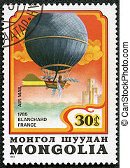 MONGOLIA - CIRCA 1982: A stamp printed in Mongolia shows balloon Blanchard France 1785, series, circa 1982