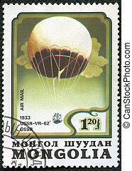 "MONGOLIA - CIRCA 1982: A stamp printed in Mongolia shows stratosphere balloon ""USSR-VR-62"" USSR 1933, series, circa 1982"