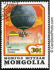 MONGOLIA - CIRCA 1982: A stamp printed in Mongolia shows balloon Blanchard France 1785, series, circa 1982
