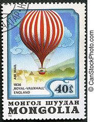 "MONGOLIA - CIRCA 1982: A stamp printed in Mongolia shows air-balloon ""Royal-Vauxhall"" 1836, series, circa 1982"