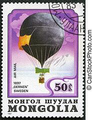 "MONGOLIA - CIRCA 1982: A stamp printed in Mongolia shows Swedish air-balloon ""Eagle"" 1897, series, circa 1982"