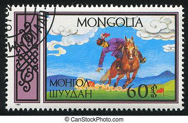 MONGOLIA - CIRCA 1987: stamp printed by Mongolia, shows Equestrian Sports, man retrieving flags, circa 1987