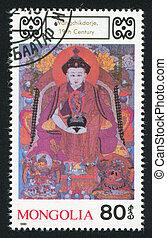 Buddhist Deities - MONGOLIA - CIRCA 1990: stamp printed by...