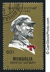 Lenin - MONGOLIA - CIRCA 1990: stamp printed by Mongolia, ...