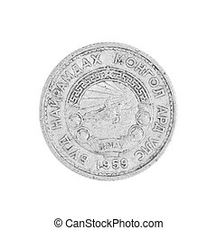 Mongolia coin close up.