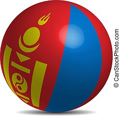 Mongolia flag on a 3d ball with shadow