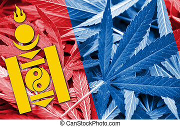 Mongolia Flag on cannabis background. Drug policy....