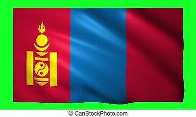 Mongolia flag on green screen for chroma key