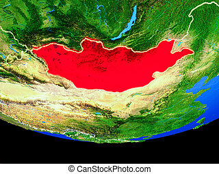 Mongolia from space on Earth