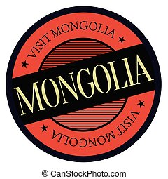 Mongolia geographic stamp. City or country label, sign