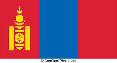 mongolia, ilustración, bandera, vector