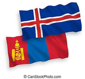 mongolia, islandia, fondo blanco, banderas