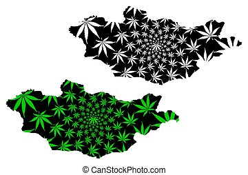 Mongolia - map is designed cannabis leaf