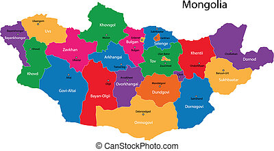 Mongolia map - Map of administrative divisions of Mongolia