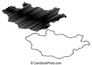 Mongolia map vector
