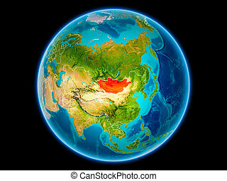 Mongolia on Earth from space