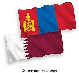 mongolia, qatar, fondo blanco, banderas