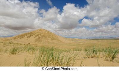 Mongolia. Sands Mongol Els, sandy dune desert, bright sunny ...