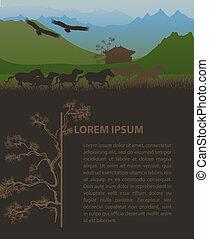 Mongolia travel design template