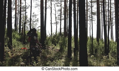 Mongolian archer makes way through dense forest with...
