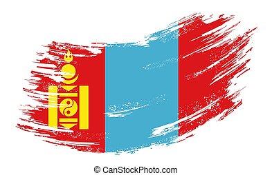 Mongolian flag grunge brush background. Vector illustration...