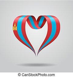 Mongolian flag heart-shaped ribbon. Vector illustration. - ...