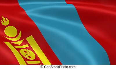 Mongolian flag in the wind