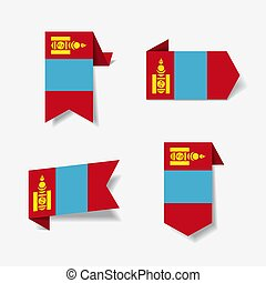 Mongolian flag stickers and labels. Vector illustration. - ...