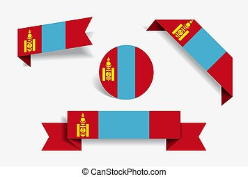 Mongolian flag stickers and labels. Vector illustration. -...