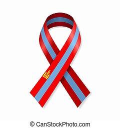 Mongolian flag stripe ribbon on white background. Vector ...