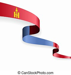 Mongolian flag wavy abstract background. Vector illustration...