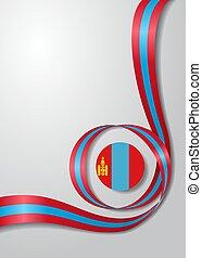 Mongolian flag wavy background. Vector illustration. - ...